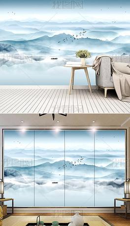 现代简约新中式水墨山水电视背景墙装饰画