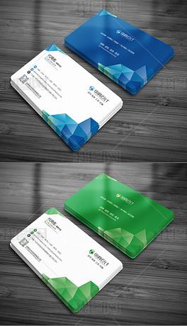 个人企业公司名片模板二维码几何科技背景