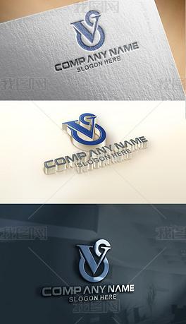 VC字母创意logo设计