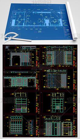 极简轻奢木作店面CAD施工图纸