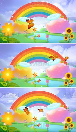 可爱卡通动画彩虹草地鲜花儿童LED背景视频