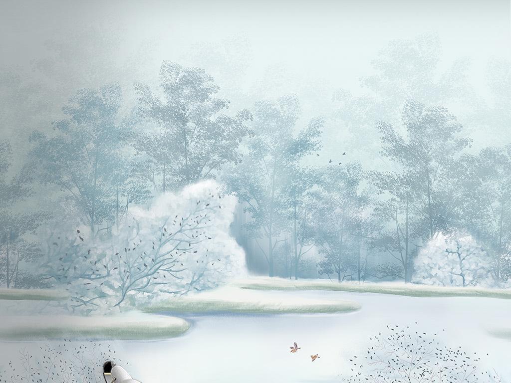 北欧简约手绘小清新唯美森林湖泊风景背景墙壁