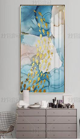 新中式水墨山水金色鲤鱼客厅晶瓷画北欧装饰画