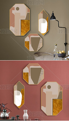 现代简约多边形沙发背景墙ins客厅装饰画