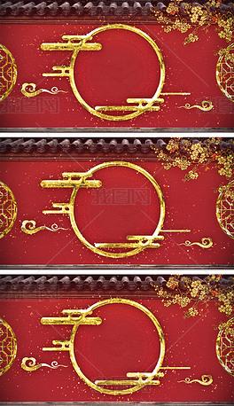 4K中国风延禧攻略宫廷山水画电视包装背景