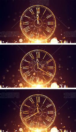 4K60s时钟倒计时金色表盘粒子背景