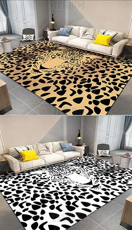 原创现代简约复古抽象虎皮豹纹ins风卧室客厅地毯