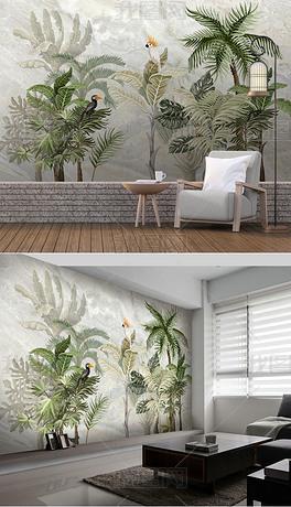 欧式创意高清手绘热带雨林风景大理石纹背景墙壁画