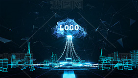 科技云计算线框建筑互联网