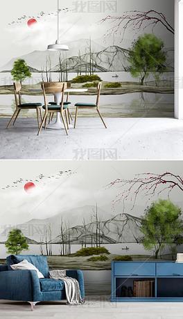 新中式现代艺术水墨山水风景背景墙壁画装饰画
