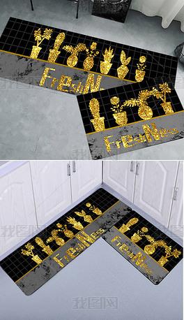 原创现代小清新黑色金色植物厨房垫床边毯两件套设计图