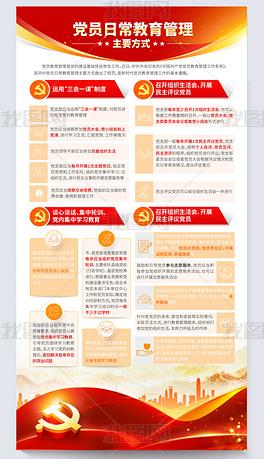 中国共产党党员教育管理工作条例党建展板