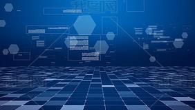 蓝色科技空间视频网格背景素材