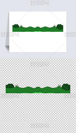 手绘大自然绿色草地卡通元素