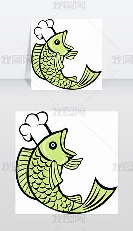 一个鱼厨师面包师的卡通插图鱼厨师面包师