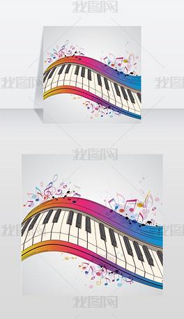 音乐明亮的背景与钢琴和音符