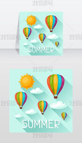 夏天的背景是热气球图片为广告小册子矢量图
