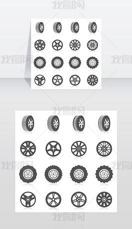 轮胎汽车蒙太奇服务黑色剪影图标设置孤立矢矢量图