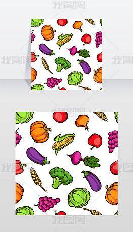 收获无缝模式秋季插图与季节性水果和蔬菜收矢量图