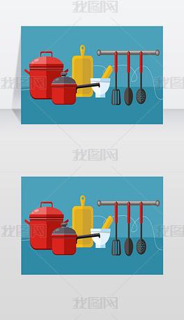 厨房用具平面设计概念图标烹饪工具和厨具设矢量图