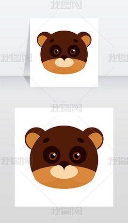 熊动物嘉年华面具矢量插图在平面风格棕色和矢量图