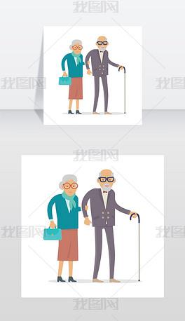 老年人独自行走快乐的老男人女人老年人独自矢量图