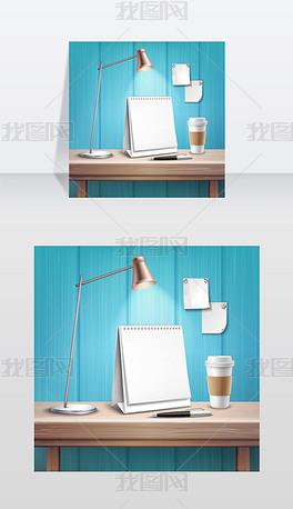 木桌上的空白台历蓝墙背景木桌子上的空白台矢量图