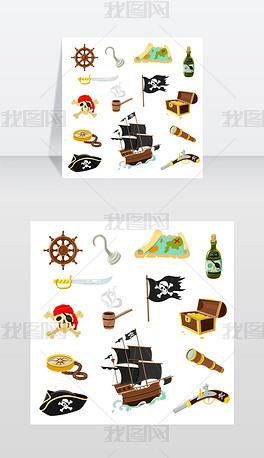 海盗配件平面图标集海盗配件平面图标集合与矢量图