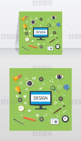 概念在平面设计的网页设计和开发与监视器包矢量图