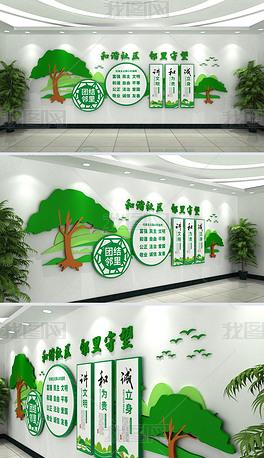 绿色创建文明城市和谐社区文化墙设计