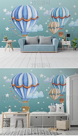 现代简约手绘儿童房热气球卡通壁画