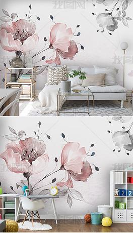 北欧简约水彩花朵小清新卧室背景墙