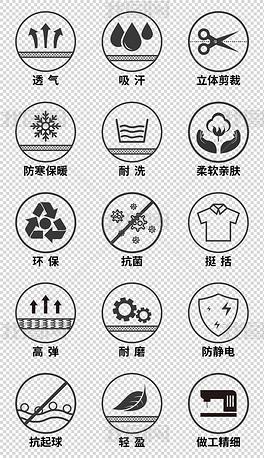 淘宝详情页衣服面料图标服装性能描述免扣元素素材
