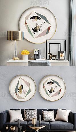 新中式抽象几何花卉两联圆形装饰画