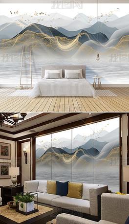 新中式现代轻奢抽象水墨山水风景背景墙壁画