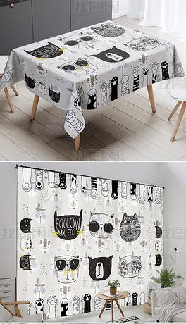 北欧卡通现代简约黑色猫爪桌布