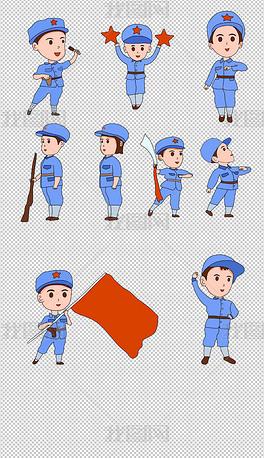 手绘长征路上的红军小战士插画
