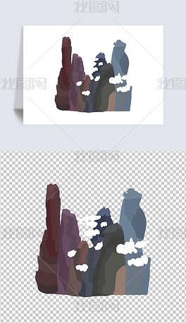 卡通山脉风景张家界插画图片素材免扣元素