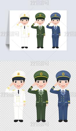 卡通儿童八一军人中国人民解放敬礼免扣元素图片素材