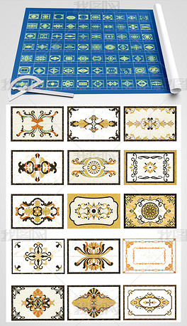 长方形大理石瓷砖水刀拼花图案CAD图库