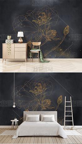分层国潮背景墙金色荷花背景墙新中式描金画