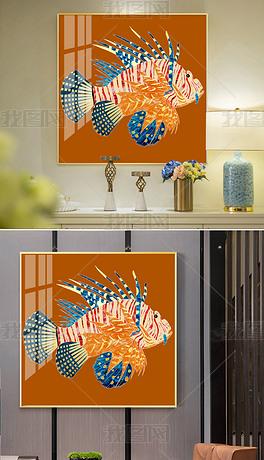 现代简约抽象手绘海洋金鱼珐琅彩景泰蓝轻奢装饰画