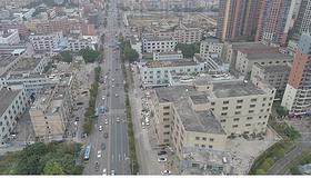 绿色简洁深圳龙岗区废弃工厂环境航拍视频