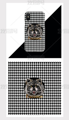 复古风手绘浣熊手机壳图案设计