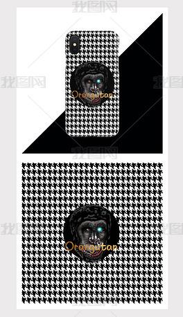 复古风手绘猩猩手机壳图案设计