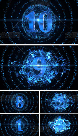 科技粒子穿梭倒计时高清视频