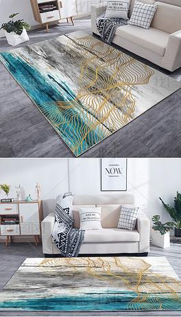 现代北欧抽象鎏金水墨金色线条艺术地毯地垫设计图案