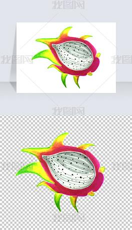 卡通手绘水果火龙果PNG