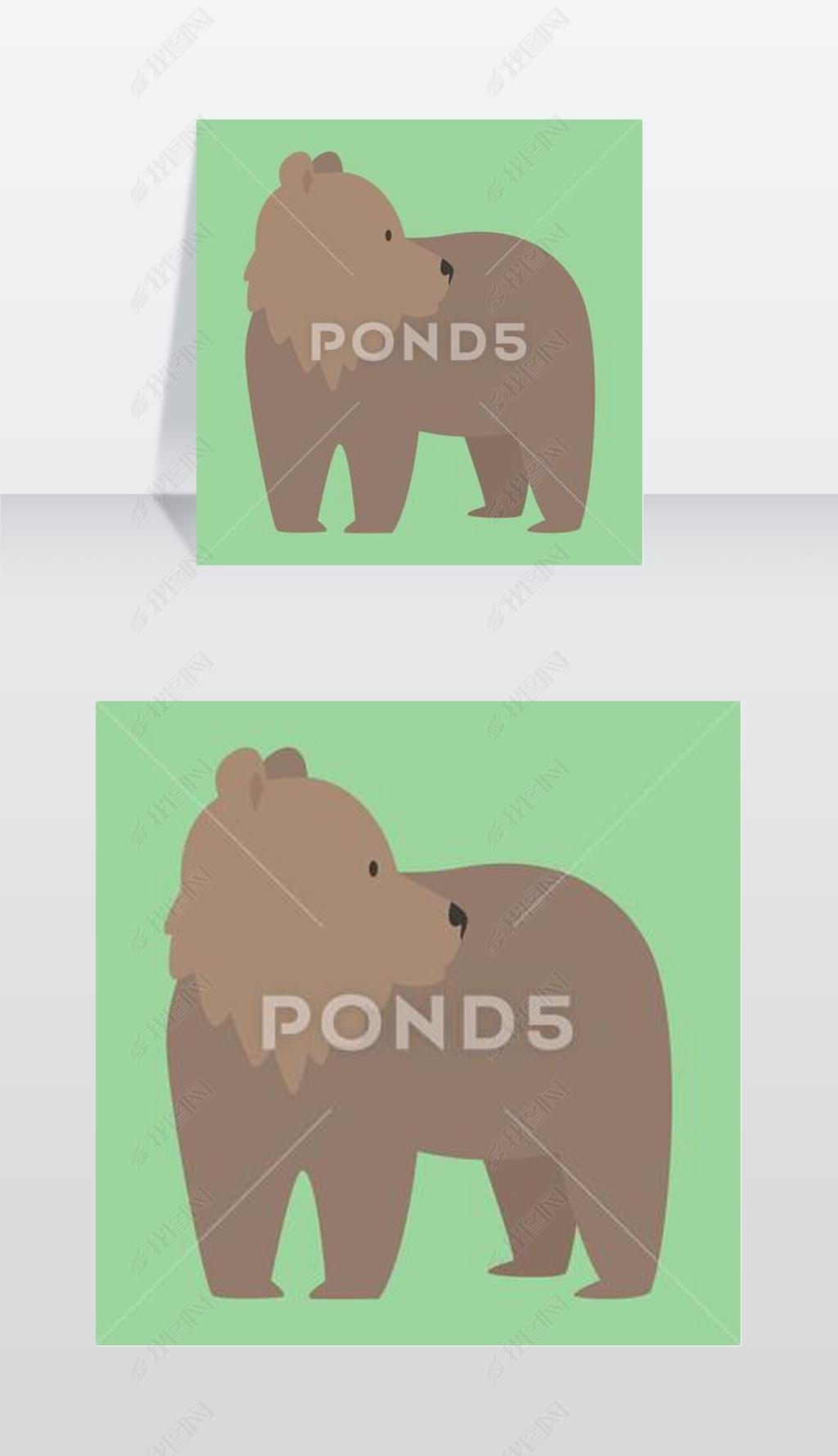插画棕熊搞笑快乐动物卡通食肉动物可爱人物插