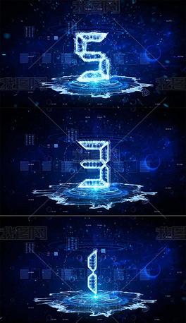 蓝色科技5秒倒计时视频素材